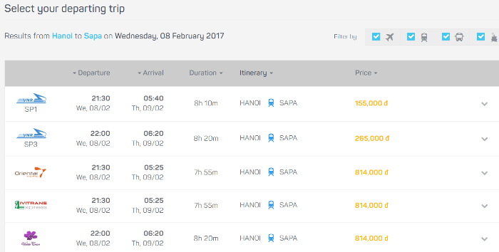 Book train ticket hanoi to sapa